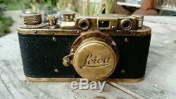 Brass Patina Leica II 35mm Film Camera With Leitz Elmar 13.5 F=50 mm Lens