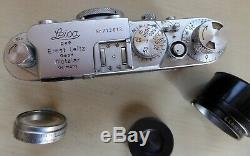 Cased Leica IIIF Film Camera, No. 713613 (1954) with Leitz Elmar 5cm f3.5 Lens++