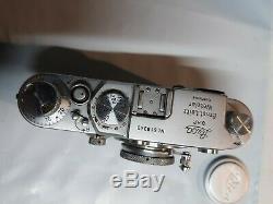 LEICA IIIc IIIf Rangefinder Film Camera With Leitz Elmar 5cm 50mm f/3.5 Lens EUC