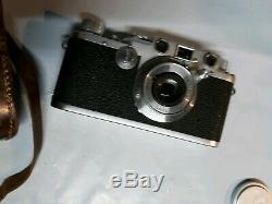 LEICA IIIc IIIf Rangefinder Film Camera With Leitz Elmar 5cm 50mm f3.5 Lens EUC