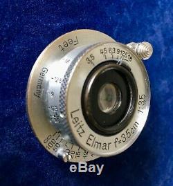 LEICA LEITZ 3.5CM F3.5 WIDE ANGLE ELMAR #400126 Year 1937 Screw Mount 39