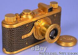 LEICA LEITZ I MODEL A LUXUS GOLD CAMERA +50MM ELMAR LENS +CAP RARE NICE! CLA'ed