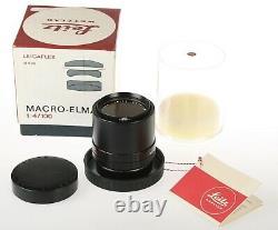 LEICA Leitz R Macro Elmar 100mm 14 lens Boxed withFilter, Cap, Bubble, etc Minty
