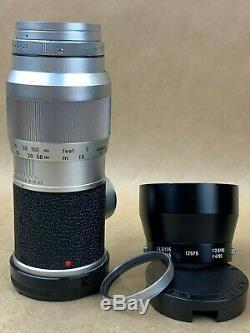 LEICA M 135mm f/4 Elmar Leitz Wetzlar lens with Caps, 12575 Hood, Filter & Case