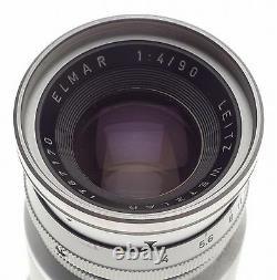 LEICA M MOUNT ELMAR f=9cm 14 CAMERA USED LENS CAPS LEITZ CHROME 14/90mm M9 M3