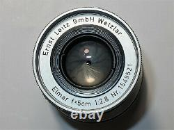 LEITZ Leica Elmar 5 cm 12.8 M39 MOUNT LTM # 1549521. From 1958