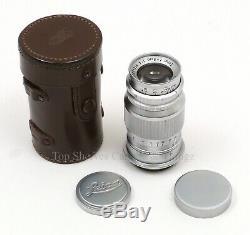LEITZ Leica Elmar 90mm/F4 Silver Chrome Lens, Leica Elma M39 LTM Lens/Leica 90mm