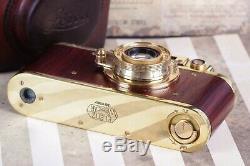 Leica D. R. P. Art Camera with Leitz Elmar Lens Vintage 35mm Red/Gold FED copy