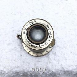 Leica Elmar 50mm F3.5 screw mount lens serial 154456 Leitz Wetzlar Nickel