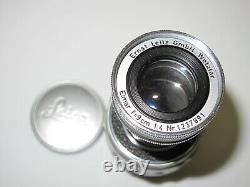 Leica Ernst Leitz M Mount 9CM 90mm F4 Elmar Collapsible Lens w Caps
