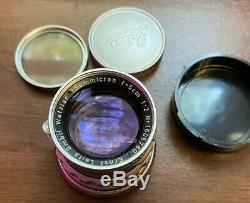 Leica Ernst Leitz Wetzlar Summicron 5cm 50mm 12 Rigid M Mount Prime Lens Mint