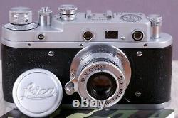 Leica II Kriegsmarine Silver Camera lens Leitz Elmar (Fed Zorki copy)
