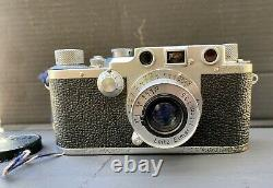 Leica IIIc 35mm Film Camera with Leitz Elmar Lens & Original Case 1939 Working
