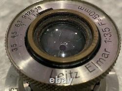 Leica Leitz 50mm f3.5 Nickel 11 OClock Elmar Yr. 1931 L39 Lens Early / Rare