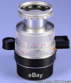 Leica Leitz 90mm Macro-elmar-m F4 Chrome M Lens 11634 +macro-adaptor-m Clean