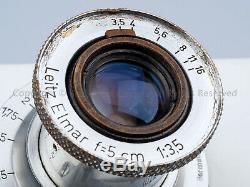 Leica Leitz ELMAR 5cm 50mm f3.5 L39 LTM Year 1947 + Caps