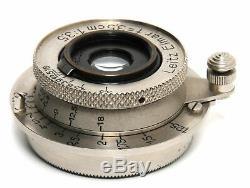 Leica Leitz Elmar 3,5/3,5cm Nickel lens w. Caps Screw Mount