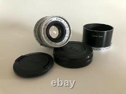 Leica Leitz Elmar 5cm 50mm f/2.8 M Collapsable Rangefinder Lens Caps & Shade