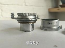 Leica Leitz Elmar 5cm 50mm f3.5 Lens ltm l39 with FISON hood & lens cap
