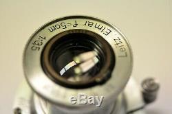 Leica Leitz Elmar 5cm f3.5 SM lens with caps. Cla'd. Ser. #512249 1939