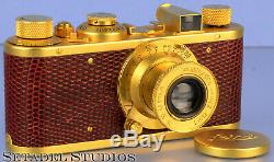 Leica Leitz I Model A Luxus Leomu Gold Camera +50mm Elmar F3.5 Lens +cap Mint