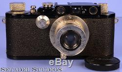 Leica Leitz III Black Paint Rangefinder +nickle Camera +50mm Elmar Lens Clean