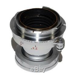Leica Leitz Wetzlar Elmar-M 50mm F2.8 Lens, Case Box. Silver Chrome LN Condition