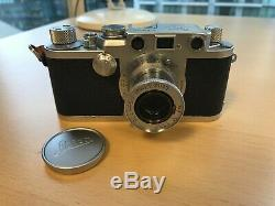 Leica (Leitz) iiif red dial camera with Elmar 50mm (5cm) f 3.5 and lens cap