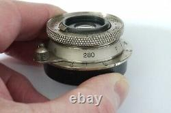 Leica Leitz lens 35mm Elmar Ekruz 1930 Nickel Non-Standard N0.280 Near Mint