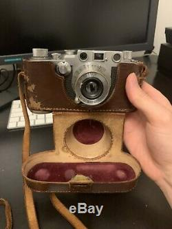 Leica iiic Camera Body With Leitz Elmar 5cm F/3.5 Collapsible Lens And Case