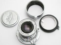 Leitz Elmar 5 Cm 3.5 LTM Red scale Black Diamond Pointer Leica Hood Filter
