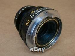 Leitz Leica 11831 50mm 12.8 Elmar-M with Hood 12550 and Caps