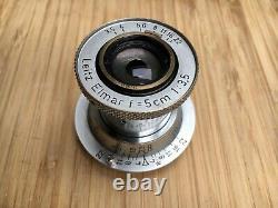 Leitz Leica 5cm f3.5 Elmar Red Scale Lens LTM L39 M39 Screw Mount