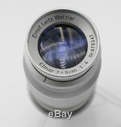 Leitz Leica Elmar 9cm F4.0 M39 Mount Rangefinder Camera Prime Lens & Bubble