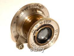 Nickel LEITZ ELMAR 3.5/50 LENS Collapsible M39 LTM Screw For Leica Rangefinders