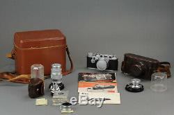 Photo Camera Leica lllF 1950's + 3 Lenses Summicron 5 Leitz Elmar 13.5