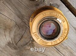 Soviet Brass Patina Leica II 35mm Rangefinder Film Camera & Leitz Elmar Lens