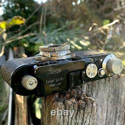 Stunning Leica II 2 Camera Leitz Chrome Brass Elmar 50mm Lens F3.5 & Case Exc+