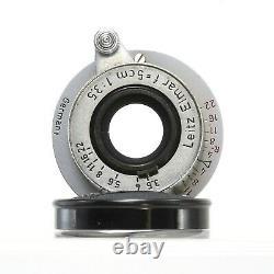 Vintage Leica Leitz Elmar f=5cm 13.5 camera Lens very clean retracts easily